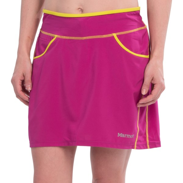 CLOSEOUTS . Marmotand#39;s Cascade skort is a fun way to dress up a trail run! The wide elastic waistband smooths the tummy, and non-irritating flatlock seam construction makes for chafe-free excursion. Available Colors: BLACK, LIPSTICK, SEA GLASS. Sizes: XS, S, M, L, XL.