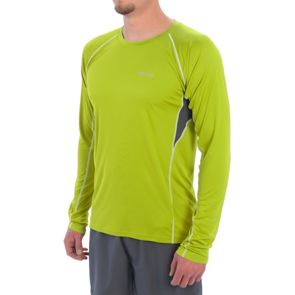 CLOSEOUTS . Marmotand#39;s Frequency shirt delivers moisture-wicking, sun-protecting performance so you can take care of business on the trail, on the road or in the gym. The flatlock seams ensure chafe-free comfort, and mesh panels provide exceptional ventilation so you wonand#39;t overheat. Available Colors: GREEN LICHEN, SLATE GREY, TEAM RED, BLAZE. Sizes: S, M, L, XL, 2XL.