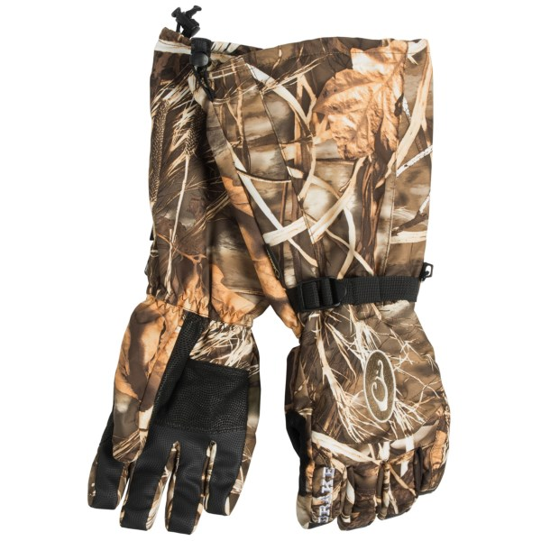 CLOSEOUTS . Drakeand#39;s Double Duty Decoy gloves were designed especially for waterfowl hunters, with full-length gauntlets that fit over coat sleeves, durable shell fabric, waterproof breathable Gore-Texand#174; protection and warm fleece lining. Available Colors: REALTREE MAX4. Sizes: S, M, L, XL.