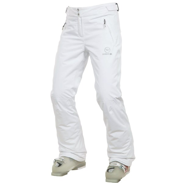 CLOSEOUTS . With an adjustable waistband and 60g Thinsulateand#174; insulation, Rossignoland#39;s Moon ski pants ensure you donand#39;t accidently let it  all  hang out during cold days on the slopes. Available Colors: BLACK, WHITE. Sizes: S, M, L, XL.