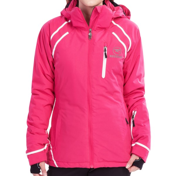 CLOSEOUTS . The Rossignol Comet ski jacket lets you light up the slopes in style. The water-resistant shell is accented with contrasting stripes and insulated with low-bulk Thinsulateand#174;. Available Colors: 200 BLACK, 318 PINK, 757 PURPLE. Sizes: S, M, L, XL.