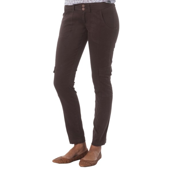 CLOSEOUTS . The stylish offspring of skinny jeans and cargo pants, prAnaand#39;s Elena pants feature a silky, brushed organic cotton with a slim-leg design, patch pockets and a modern low-rise waistband. Available Colors: BLUE ASH, COAL, BLACK, DARK KHAKI, ESPRESSO. Sizes: 0, 2, 4, 6, 8, 10, 12, 14.