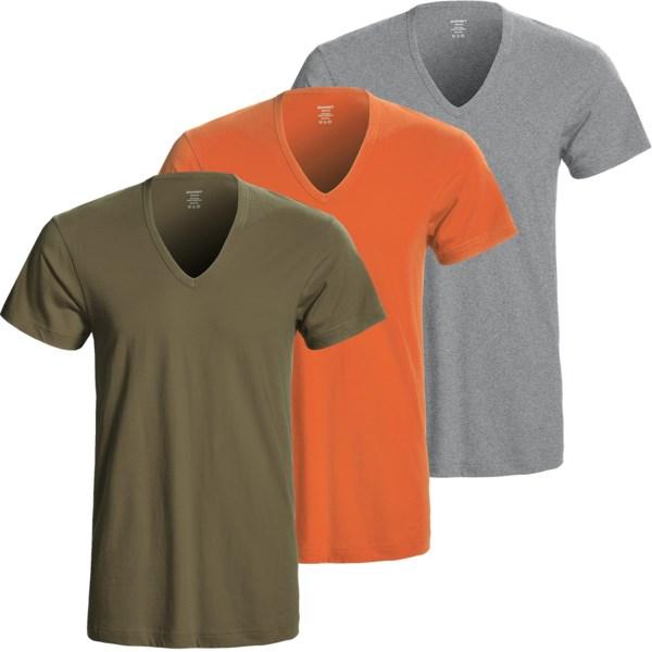 2(x)ist Deep V Neck T Shirts 3 Pack, Slim Fit (For Men)