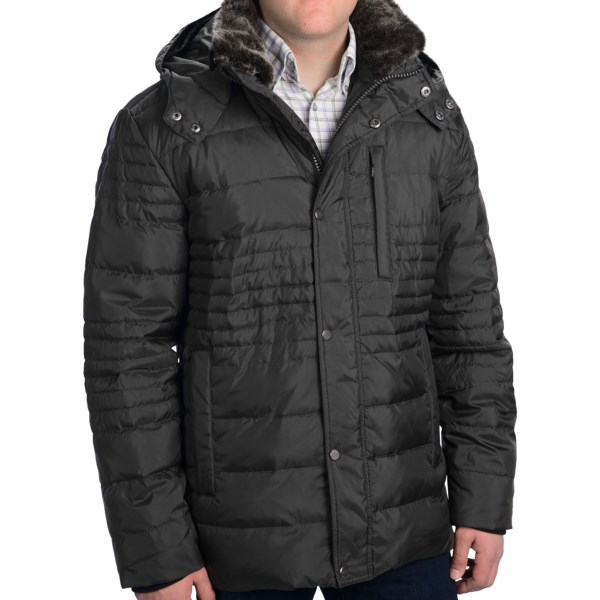 CLOSEOUTS . An uptown spin on winter-warm down, Andrew Marcand#39;s Damien down parka is handsomely quilted to low-bulk duck down, with faux-fur inner collar (convincingly real) and fleecy knit sleeve gaiters to keep city winds from chasing down your neck... or up your sleeves. Available Colors: BLACK, OLIVE. Sizes: M, L, XL, 2XL.