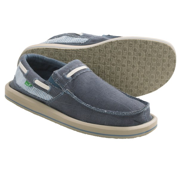 CLOSEOUTS . The Sanuk Skipjack shoe helps you maintain a laid-back island vibe no matter where you are. Frayed edges and a moc toe create a relaxed style, and the supersoft footbed with AEGIS Microbe Shieldand#174; keeps you and your feet feeling good. Available Colors: NATURAL/SEERSUCKER, OLIVE/SEERSUCKER, BLUE/SEERSUCKER. Sizes: 7, 8, 9, 10, 11, 12, 13, 14.