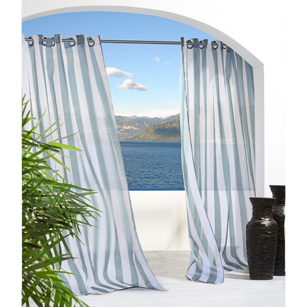 Outdoor Decor Escape Stripe Sheer Indoor/outdoor Curtains - 108x96?, Grommet Top