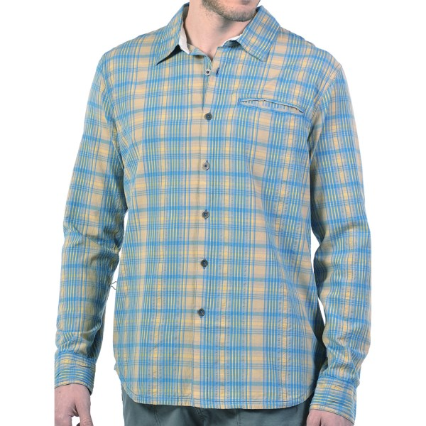 CLOSEOUTS . A timelessly handsome mix of plaid and textured stripes atop a vintage-washed cotton, Gramicciand#39;s Myles shirt is the relaxed summer button-up youand#39;ve been waiting for. The antique-finish buttons and airy-soft finish offer both sporty and dressy appeal. Available Colors: CACTUS GREEN, RUSTY RED, SAIL BLUE. Sizes: S, M, L, XL, 2XL.