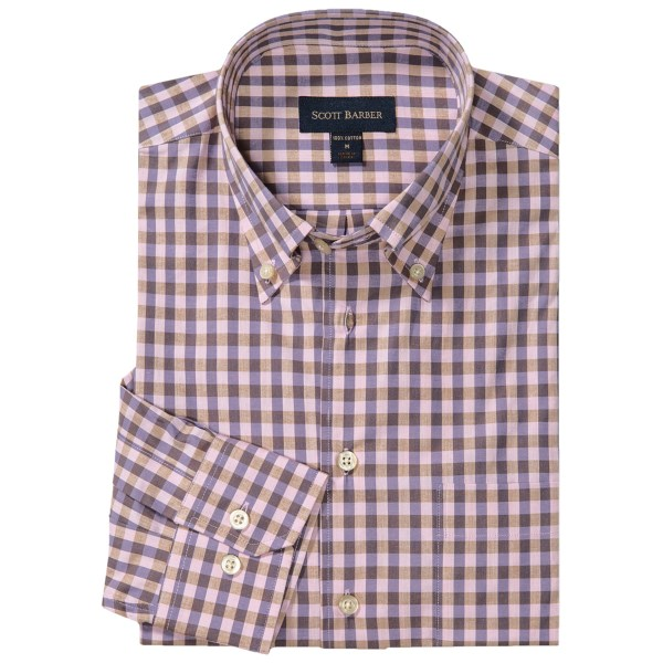 CLOSEOUTS . The Scott Barber James shirt features a classic check pattern in premium cotton, accented with a French front and traditional button-down collar, thatand#39;s versatile enough to pair with slacks or chinos. Available Colors: 01, BLACK/FRENCH BLUE/TOBACCO, NAVY/FRENCH BLUE/IVORY, LIGHT PINK/PURPLE/BROWN, CREAM/GREY/FRENCH BLUE, DENIM BLUE/BLACK/GOLD/WHITE. Sizes: S, M, L, XL, 2XL.