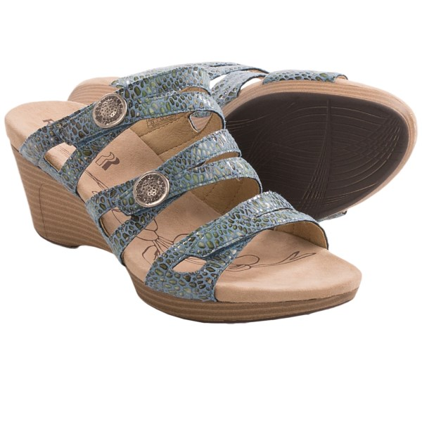 CLOSEOUTS . Amp up your bare-toe wardrobe with the exotic, elevated style of Romikaand#39;s Jamaika 02 wedge sandals. Featuring three criss-crossing straps adorned with a glossy snake-print pattern, these babies are ready to rock from runway to night out. Available Colors: BLUE. Sizes: 37, 38, 39, 40, 41, 42.
