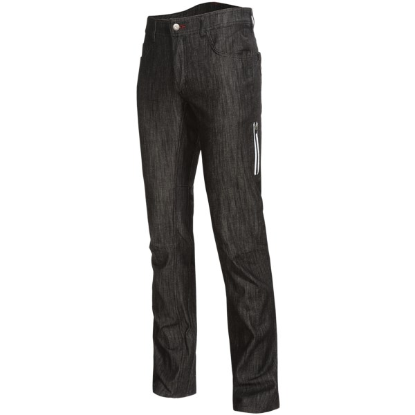 CLOSEOUTS . These jeans were made for... cycling? Thatand#39;s right, Club Rideand#39;s Ray Jean cycling pants feature the good looks of your favorite vintage jeans with a stretchy-soft, gusseted design thatand#39;s suited for all your on-seat adventures. Reflective trim and a NoCrackBack waistband offer safety and a little extra coverage. Available Colors: RAVEN DENIM. Sizes: 31, 32, 33, 34, 36.