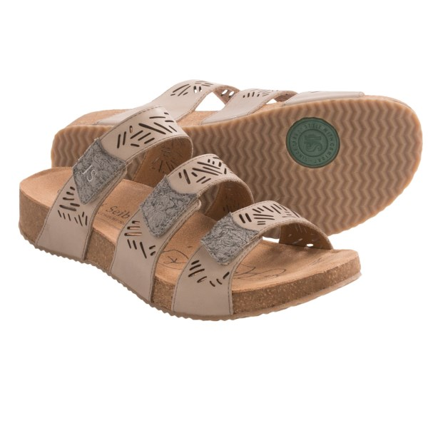 CLOSEOUTS . Summery style with a cloud-soft landing, Josef Seibeland#39;s Tonga 13 sandals feature three adjustable straps with cutout detailing and a suede-covered footbed thatand#39;ll have you saying andquot;ahhandquot; in seconds. Available Colors: JEANS, CHRISTAL/TITANIUM. Sizes: 36, 37, 38, 39, 40, 41, 42.
