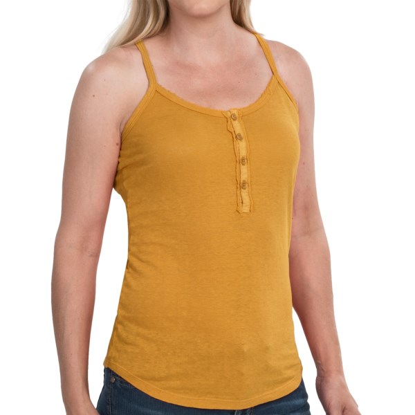 CLOSEOUTS . A sure-fire way to stay cool, comfortable and stylish in hot weather, Gramicciand#39;s Paige tank top is made of lightweight, breathable and odor-resistant Senna hemp-organic cotton jersey knit with a four-button placket thatand#39;s trimmed in subtle raw-edged ruffles. Available Colors: AUBERGINE, CITRIS YELLOW, CLAY BEIGE, EARTH GREY, LILAC STONE, NAUTICAL BLUE, RUSTIC GOLD, SCOTTISH ORANGE, UNIFORM RED, WHITE. Sizes: XS, S, M, L, XL.