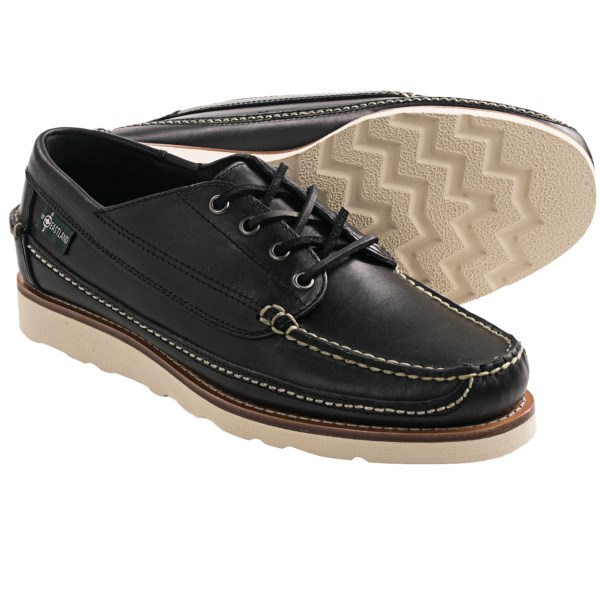 CLOSEOUTS . Rugged good looks and classic style define Eastlandand#39;s Stoneham 1955 Camp Moc oxford shoe. Durable leather features contrast stitching that pairs with chinos or denim, and the Vibramand#174; outsole ensures reliable, shock-absorbing traction. Available Colors: BLACK, CHESTNUT, LODEN, WHEAT. Sizes: 7, 7.5, 8, 8.5, 9, 9.5, 10, 10.5, 11, 11.5, 12, 13.