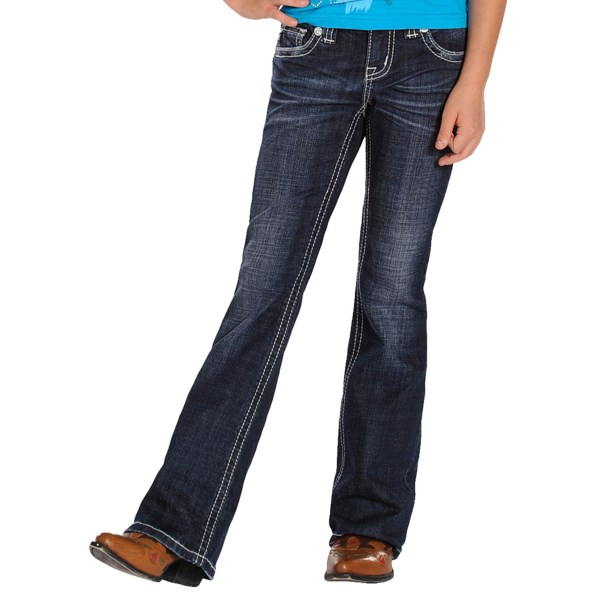 Rock and Roll Cowgirl Rhinestone-Trimmed Pocket Jeans - Bootcut (For Girls)