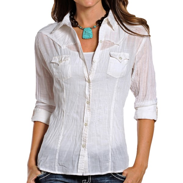 CLOSEOUTS . Gauzy cotton sets the tone for the modern Western appeal of Panhandle Slimand#39;s White Label Santa Fe shirt, finished with intricate, rhinestone-accented dreamcatcher embroidery on the back, pointed yokes, shoulder epaulets and roll-up sleeves. Available Colors: WHITE. Sizes: 2XS, XS, S, M, L, XL, 2XL.