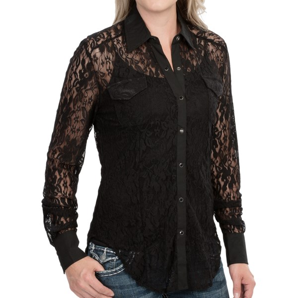 Rock and Roll Cowgirl Allover Lace Shirt - Long Sleeve (For Women)
