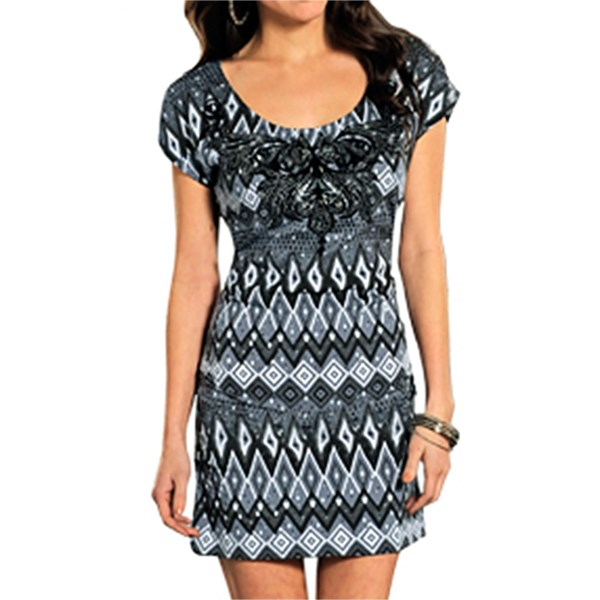 Rock and Roll Cowgirl Embellished Neckline Dress - Short Sleeve (For Women)