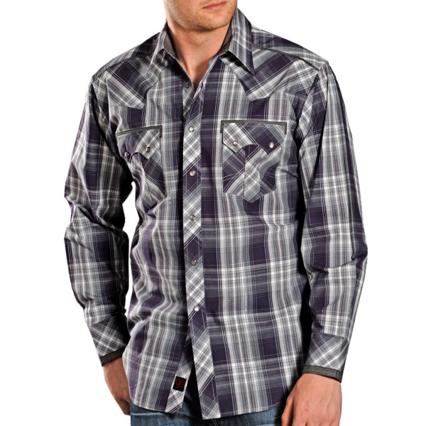 CLOSEOUTS . Keep the honky tonk on its toes! Metallic threading, contrast trim accents and distinctive two-snap pockets lend a touch of bold, rocker style to Panhandle Slimand#39;s 90 Proof plaid shirt. Available Colors: PURPLE. Sizes: S, M, L, XL, 2XL.