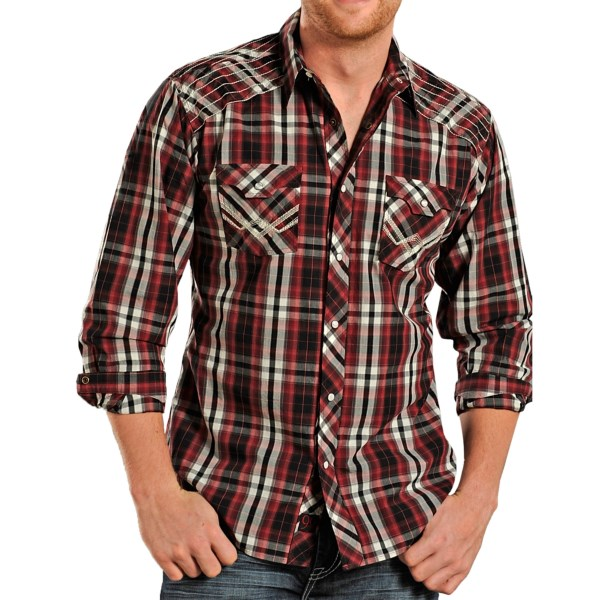Panhandle Slim 90 Proof Plaid Embroidered Shirt -Snap Front, Long Sleeve (For Men)