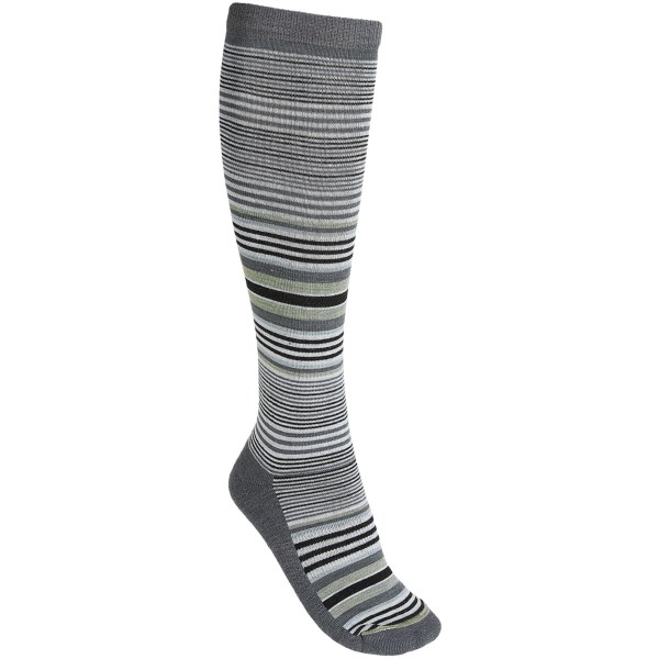 CLOSEOUTS . Youand#39;d never know the cushy-soft fibers of Lorpenand#39;s Eve socks were ready to take on everything from backcountry adventure to overtime soccer tournament; these babies are so much more than stylishly soft, knee-high favorites. Available Colors: TAUPE, LIGHT GREY, BLACK. Sizes: S, M, L.