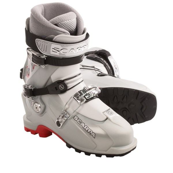 CLOSEOUTS . Perfect for women who are just breaking into the touring scene, Scarpaand#39;s Vanity AT ski boots offer comfort and performance with a women-specific design that features a Pebaxand#174; tongue with T-Flex, a ski-walk mode, adjustable canting and a Vibramand#174; touring rubber outsole. Available Colors: SILVER. Sizes: 22.5, 23, 23.5, 24, 24.5, 25, 25.5, 26, 26.5, 27.