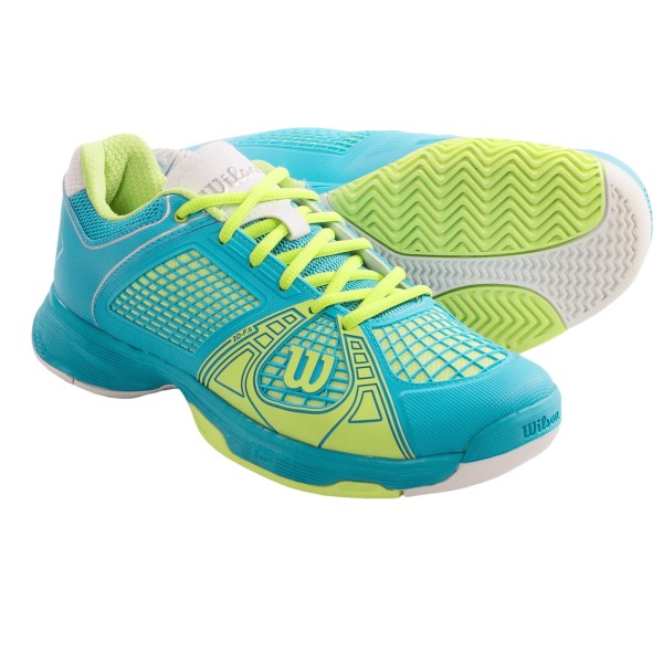 CLOSEOUTS . Plushly cushioned, lightweight and durable, Wilsonand#39;s Rush NGX tennis shoes feature a molded polyurethane upper and a padded collar for responsive performance. Available Colors: STEEL GREY/NEW FUCHSIA/WHITE, OCEANA/CYBER GREEN/WHITE. Sizes: 5.5, 6, 6.5, 7, 7.5, 8, 8.5, 9, 9.5, 10, 11.