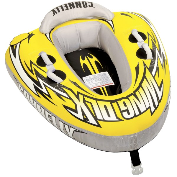CLOSEOUTS . Fly behind the boat on Connellyand#39;s Wing Deluxe towable tube, a one-person, cockpit-style tube with an inflatable back rest, padded handles and a padded seating area. Available Colors: YELLOW.