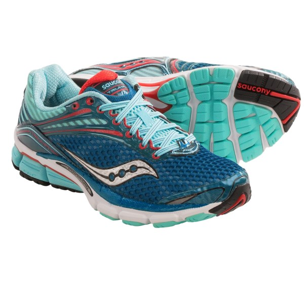 CLOSEOUTS . Ideal for neutral runners seeking a soft landing. Sauconyand#39;s Triumph 11 running shoes are updated with more supportive overlays in the upper. PowerGrid midsole technology provides extra cushioning for heel strikers and high-mileage runners. Available Colors: WHITE/VIZICORAL/NAVY, GREY/TEAL/CITRON, BERRY/VIZIPINK, BLUE/RED. Sizes: 5, 6, 6.5, 7, 7.5, 8, 8.5, 9, 9.5, 10, 10.5, 11, 11.5, 5.5.