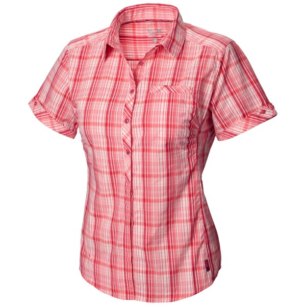 CLOSEOUTS . Adorable in plaid, Mountain Hardwearand#39;s Terralake Tech shirt offers a rugged, high-performance fabric blend thatand#39;s supple and stretchy with a powerful UPF protection and super-wicking finish. The comfortable princess seams feature subtle gathers at the bust for shape. Available Colors: ATLANTIS, AIR STREAM, NECTAR BLUE, WILD MELON. Sizes: 2, 4, 6, 8, 10, 12, 14, 16.