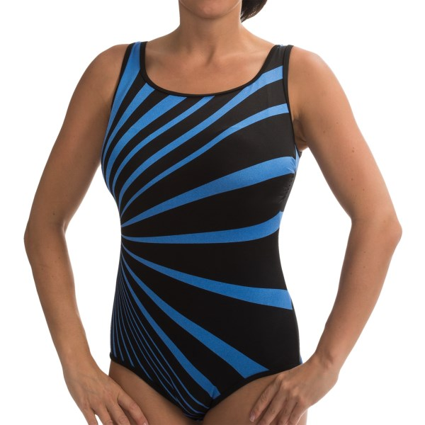 CLOSEOUTS . Longitudeand#39;s Panorama tank swimsuit supplies a double dose of slimming power by combining an eye-catching, specially placed design with a trouble-zone-taming inner panel. Available Colors: PERIWINKLE. Sizes: 8, 10, 12, 14, 16.