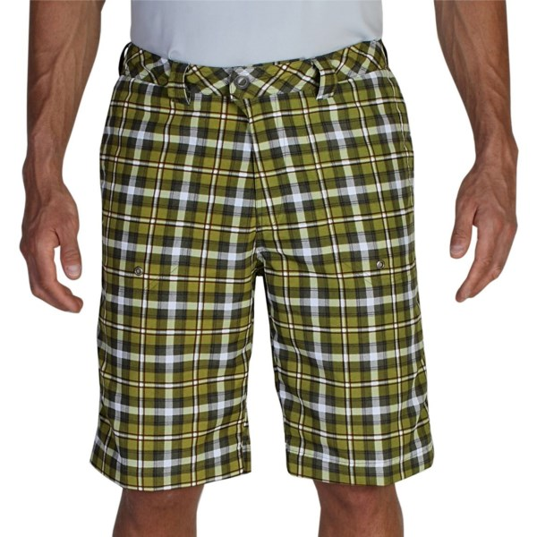 CLOSEOUTS . ExOfficioand#39;s Lacuna plaid shorts arenand#39;t afraid of a little water during your next adventure. The lightweight, durable fabric is quick drying, water resistant and features a zip back pocket for your valuable essentials. Available Colors: GRAVITY, ALGAE.