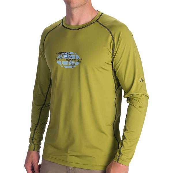 CLOSEOUTS . ExOfficioand#39;s Sol Cool Fish T-shirt features ICEFIL technology and a vibrant printed graphic that keeps you feeling and looking cool.  The specially ventilated fabric blocks and disperses thermal radiation, and helps control odor, wick perspiration and protect from damaging UV rays. Available Colors: OREGANO/SALMON. Sizes: M, L, XL, 2XL.