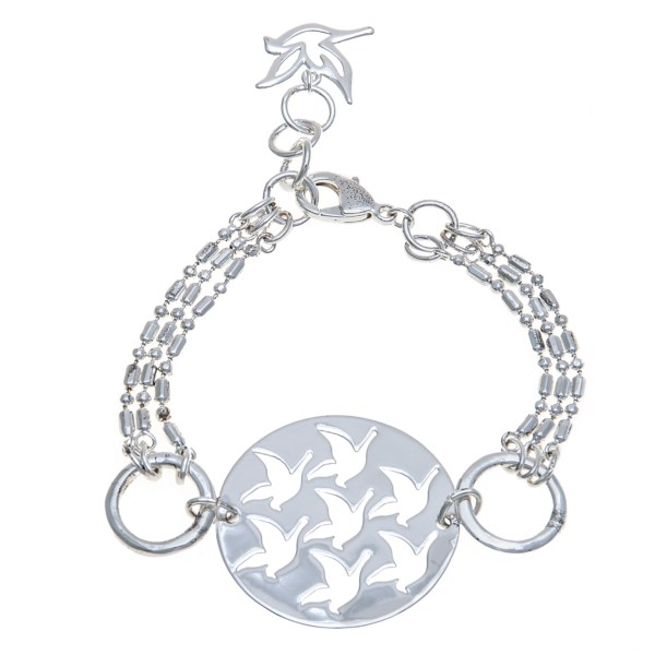 CLOSEOUTS . The number seven has much spiritual significance, which makes the seven doves taking flight on this Big Sky Silver Flying Doves bracelet especially meaningful, with single dove charm dangling at the clasp. Available Colors: SILVER.