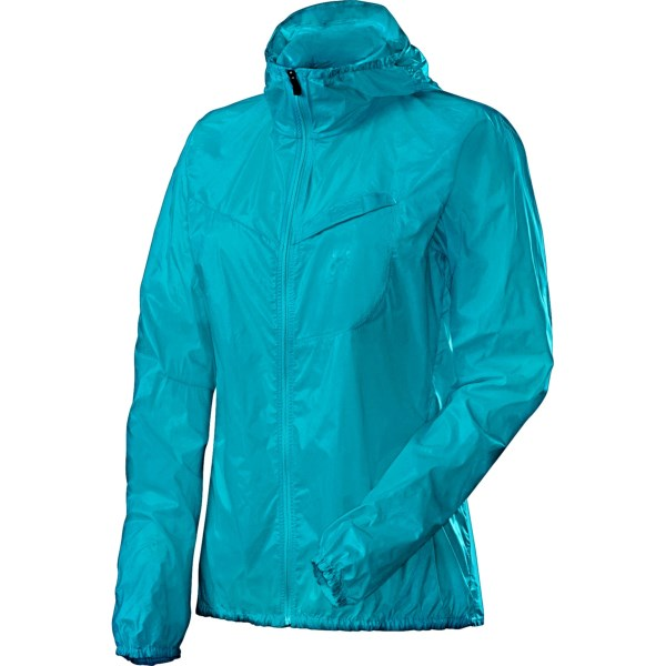 CLOSEOUTS . The Haglofs Shield Comp hooded jacket might be extremely lightweight, but itand#39;s heavy on outdoor-ready features. The silky-light, breathable fabric is wind- and water-resistant and features an attached hood for increased coverage. Available Colors: BLUEBIRD. Sizes: XS, S, M, L, XL.