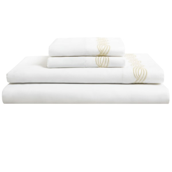 CLOSEOUTS . Lovely in the striking, all-natural luster of Egyptian cotton sateen, Peacock Alleyand#39;s Trio King sheet set complements its crisp, clean look with tonal, three-strand rope embroidery. Available Colors: IVORY, WHITE. Sizes: KING.