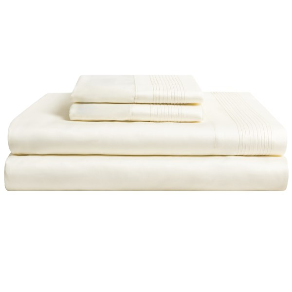 CLOSEOUTS . Tucking yourself in beneath Peacock Alleyand#39;s Adagio Queen sheet set transforms every night into an exercise in blissful indulgence. 300 thread count Egyptian cotton sateen is not only naturally lustrous but also incredibly soft and smooth. Available Colors: IVORY, WHITE. Sizes: QUEEN.