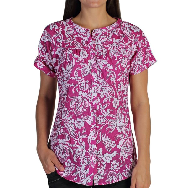 CLOSEOUTS . ExOfficioand#39;s Next-to-Nothing Hanja Burnout shirt is a stylish, lightweight layer ideally suited for travel. The wrinkle-resistant fabric features a vibrant floral pattern that looks great whether youand#39;re traveling across the globe or across town. Available Colors: WHITE, BLACK, DAZZLE, ATMOSPHERE. Sizes: XS, S, M, L, XL.