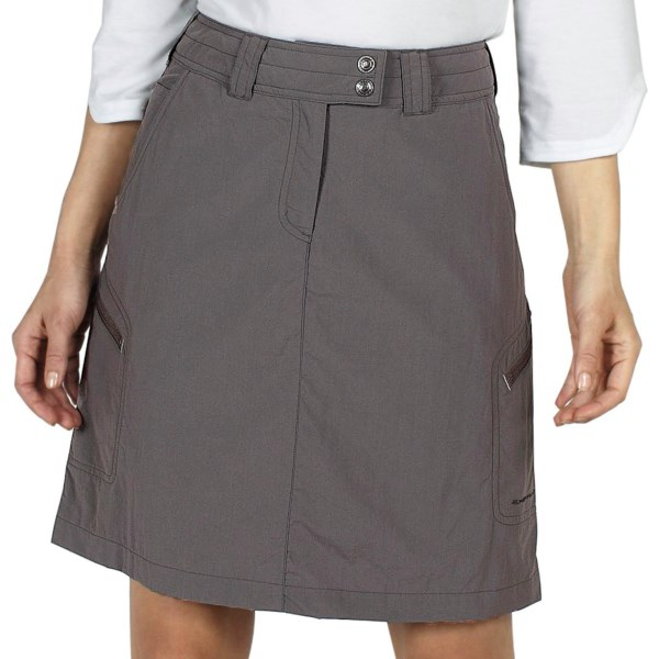 CLOSEOUTS . Great for travel and ideal for the trail, ExOfficioand#39;s Nomad skirt is water- and stain-resistant so it stands up to the demands of your active lifestyle, and the side zip pockets provide secure storage while youand#39;re making tracks or making the next flight. Available Colors: SLATE, LIGHT KHAKI. Sizes: 4, 6, 8, 10, 12, 14, 16, 2.