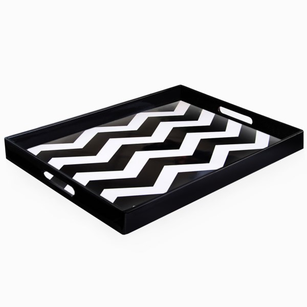 CLOSEOUTS . Breakfast in bed? Topping the coffee table or vanity? Itand#39;s your colorful American Atelier At Home rectangular chevron tray -- the choice is yours, and the possibilities are endless! Available Colors: BLUE, TEAL, BLACK.