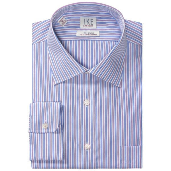 CLOSEOUTS . The IKE by Ike Behar stripe dress shirt is made from luxury IKE-eze performance cotton that retains a crisp look without ironing, and features a signature diamond-quilted collar and single-needle tailoring that add a subtle elegance to your contemporary dress wardrobe. Available Colors: BLUE/PURPLE, BURGANDY/BLUE, LILAC, FRENCH BLUE.
