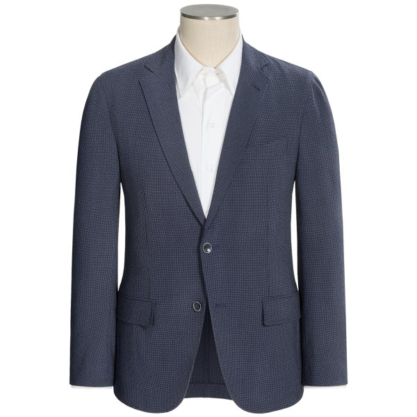 Riviera Red London Gingham Seersucker Sport Coat - Stretch Wool-Silk (For Men)