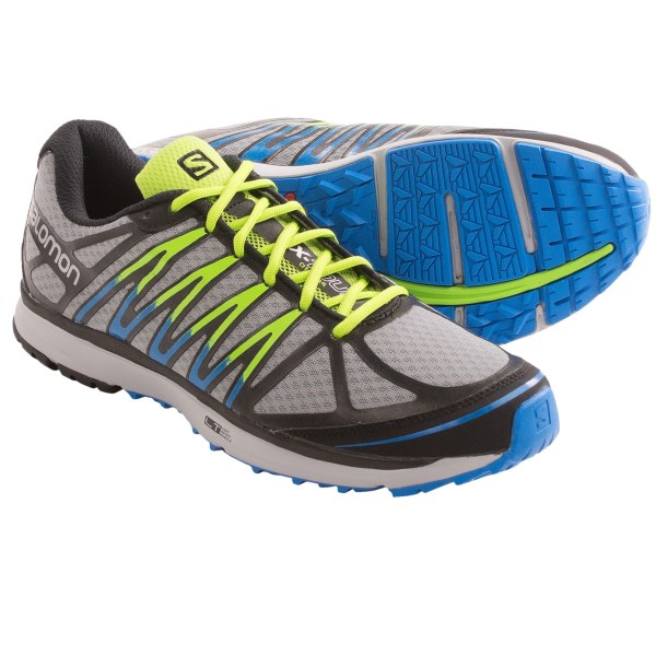 CLOSEOUTS . Part of their CITYTRAIL collection, Salomonand#39;s X-Tour trail running shoes are your ticket to a fast and fun urban run. The lightweight, breathable mesh upper features supportive synthetic overlays, Sensifit technology and a Contagripand#174; LT outsole with an energy-rebounding OS Tendon. Available Colors: PEARL GREY/BLACK/UNION BLUE. Sizes: 7, 8, 8.5, 9, 9.5, 10, 10.5, 11, 11.5, 12, 12.5, 13, 7.5.