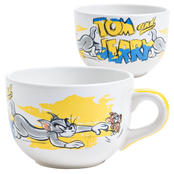 Overstock . Theyand#39;re (still) at it, and this time, the game of cat-and-mouse takes place atop Warner Brothersand#39; Tom andamp; Jerry Chase soup/chili mug. Available Colors: TOM andamp; JERRY.