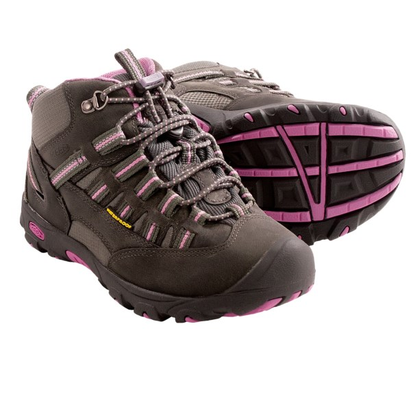 CLOSEOUTS . Keenand#39;s Alamosa mid waterproof hiking boot may be lightweight, but itand#39;s heavy on trail-ready features. The waterproof breathable membrane keeps your girland#39;s feet comfortable, and the heel loop and bungee lace system make quick work of putting on the Alamosa so she can seek the next summit. Available Colors: GARGOYLE/WILD ORCHID. Sizes: 1, 2, 3, 4, 6, 5.