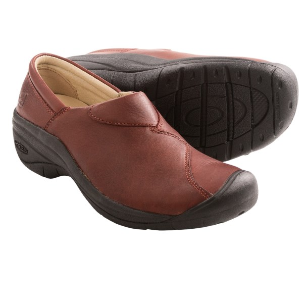 CLOSEOUTS . Enjoy the stylish comfort of Keenand#39;s Concord slip-on shoes. Featuring a smooth full-grain leather upper, this shoe has a cool overlay design that pops thanks to the contrast-stitch detailing. It provides a shock-absorbing EVA midsole along with a signature Keen toe bumper -- truly the best of both worlds! Available Colors: BURNT HENNA. Sizes: 5, 5.5, 6, 6.5, 7, 7.5, 8, 8.5, 9, 9.5, 10.