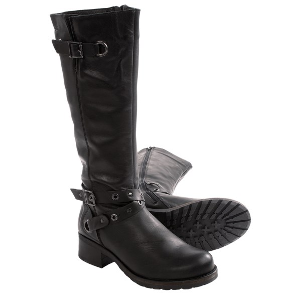 CLOSEOUTS . A pair of decorative buckles and metal hardware add an aggressive edge to Bos. andamp; Co. Boomer biker boots, a chic design that boasts smooth leather lined with soft microfiber. Available Colors: BLACK SMOOTH LEATHER, BLACK CRINKLE PATENT, DARK BROWN. Sizes: 36, 37, 38, 39, 40, 41, 42.
