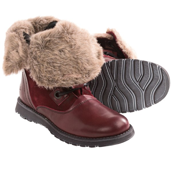 CLOSEOUTS . Embrace cold weather fashion with Bos. andamp; Co. Camloops boots. These unique ankle boots envelope feet in wonderfully plush faux shearling and feature leather-accented lacing eyelets and stitching detail. Available Colors: BLACK, CAMEL, WINE. Sizes: 36, 37, 38, 39, 40, 41.