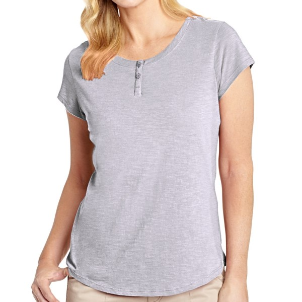 CLOSEOUTS . The relaxed Woolrich Elemental henley T-shirt is made of lightweight, soft and lightly slubbed cotton jersey with a two-button henley placket. Available Colors: RIBBON RED, ATLANTIC, BEET, DEEP INDIGO, DARK PLUM, DUSK, FRESH MINT, GUAVA, POOL BLUE, SPING LILAC, SEA SALT, TILE GREEN, WATERFALL. Sizes: S, M, L, XL, XS, 2XL.