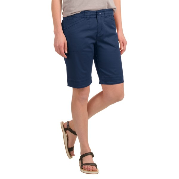 CLOSEOUTS . Tailored of stretchy, soft, boulder-washed cotton twill, Woolrichand#39;s Wood Dove chino shorts offer breathable, move-with-you comfort and versatile warm-weather style in a longer cut. Available Colors: CARMINE, DEEP INDIGO, KHAKI. Sizes: 4, 6, 8, 10, 12, 14, 16, 18.