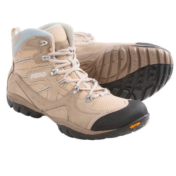 CLOSEOUTS . Asolo Ellery ML hiking boots have a flexible, anatomically shaped, highly breathable upper paired with a Vibramand#174; outsole that offers a smooth ride on rocky ridges and smooth trails. Available Colors: DARK SAND/SAND, GRAPHITE/ANTHRACITE, WHITE/GREY, DARK PLUM/GRAFITE, ARTIC BLUE/SILVER. Sizes: 8, 8.5, 9, 9.5, 10, 10.5, 11, 6, 6.5, 7, 7.5, 5, 5.5.